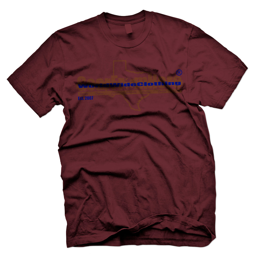 WorldwideClothing Texas maroon t-shirt